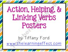 Action, Helping, and Linking Verb Posters - FREE product from The-Learning-Effect on TeachersNotebook.com