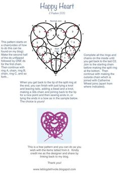 Happy Heart Tatting Pattern | Needle and Hook Patterns-all free | Scoop.it