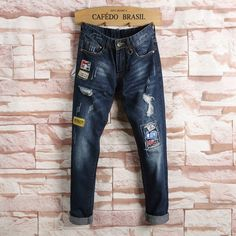 denim overalls men 2017 New products Spring and Autumn fashion ripped badge embroidery jeans personality Straight trousers