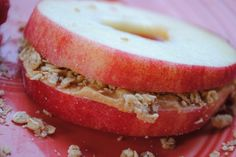 yummy apple and peanut butter sandwich. website has link to version that uses semi-sweet chocolate chips too.
