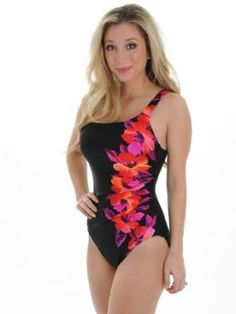 41e94154de8a2 Sexy Womens One Piece Miraclesuit Swim Suit with Underwire Support Black  Floral Design Sizes  16