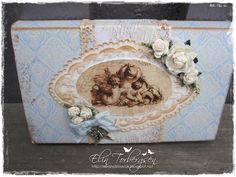 "Toffee Gift Box by Elin Torbergsen, using papers from Riddersholm Design's ""Fleamarket"" collection."