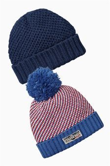 Two Pack Blue And Red Beanies