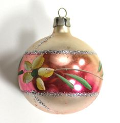 SOLD But More in Our Store :D Vintage Poland Painted Flower Christmas Ornament Glitter Ball Mercury Glass Pink Christmas Decorations, Antique Christmas Ornaments, Old Christmas, Christmas Mantels, Vintage Ornaments, Retro Christmas, Christmas Trees, Christmas Villages, Victorian Christmas