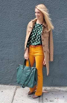 Bright pants and dots. Ok I think this is really cute.
