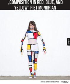 Art cosplay Piet Mondrian, Yellow, Blue, Cosplay, Red, Dresses, Style, Fashion, Vestidos