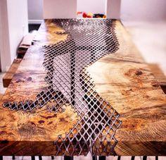 Diy Home Furniture, Live Edge Furniture, Metal Furniture, Furniture Makeover, Cool Furniture, Furniture Ideas, Diy Resin Table, Epoxy Wood Table, Epoxy Resin Wood