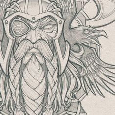 sketches design Odin's Ravens // Pencils for a cool collaboration project in the works. Art Viking, Viking Symbols, Viking Warrior, Viking Raven, Tattoo Sketches, Tattoo Drawings, Art Sketches, Art Drawings, 3d Tattoos