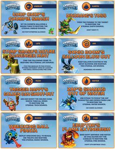 Skylanders Party - Elements Games/Activities  Signs (8)
