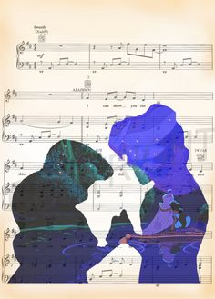 Here is a sheet music art print of Aladdin and Jasmine on the Sheet Music for A Whole New World. This is perfect for any Aladdin/Disney fanatic! Disney Songs, Disney Art, Disney Pixar, Disney Sheet Music, Sheet Music Art, Disney Girls, Disney And Dreamworks, Disney Animation, Disney Love