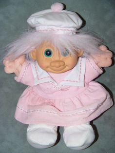 "(H*)... Troll Doll 11"" Russ Plush Soft Body Pink Sailor Girl #Russ #DollswithClothingAccessories"