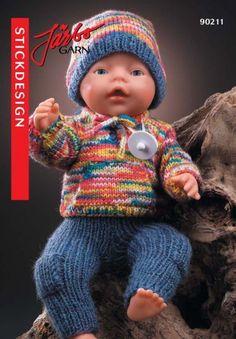 90211. Dockkläder Baby Born Clothes, Boy Doll Clothes, Knitting Dolls Clothes, Doll Clothes Patterns, Doll Patterns, Knitting Patterns, Crochet Patterns, Knitting For Kids, Free Knitting