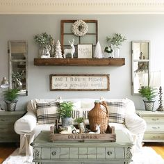 Making this DIY shelf is one of our favorite projects. Decorating this area of our home is so fun! Table are painted with Annie Sloan Chalk Paint.