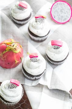 chocolate cupcakes with dragon fruit buttercream! Awesome recipe...easy to make! That frosting is a killer!
