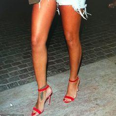 "I love these heels so much! I actually call them ""Rihanna Heels"" lol! Rihanna Ankle Tattoo, Ferrari, Rihanna Shoes, Red Heels, Classy And Fabulous, My Idol, Body Art, Legs, Tattoos"