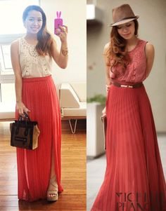 Peachy in Pleats, Michelle Phan #fashion #maxi #pleated check forever21