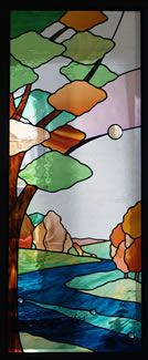 """Abstract landscape based on Bradford Dale, near Youlgrave, Derbyshire. Private commission, 20"""" x 48"""", July 2005. Made with English Antique, Kokomo, Spectrum Waterglass, and Spectrum Translucent."""