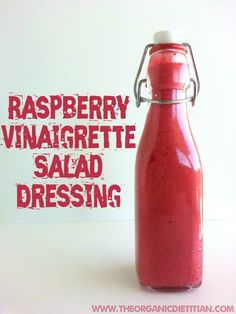 Raspberry Vinaigrette, easy, fast, no sugar, clean ingredients, real food, vegan, paleo - The Organic Dietitian