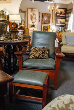 Dress up a neutral color with a pop of animal print. Chair and pillow found at Avery Lane in Scottsdale, Arizona