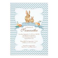 Cute Bunny Rabbit Boy Baby Shower Invitations