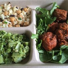 Spicy meatballs on a bed of arugula with roasted cauliflower and roasted broccoli with garlic sides. From Digg Inn - my new detox savior