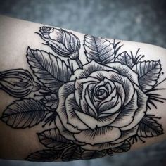 Such beautiful line work #rose #tattoos