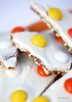 Salted caramel candy corn bark ...so good!