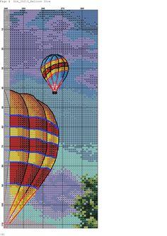 Zz Cross Stitch Baby, Cross Stitch Kits, Cross Stitch Patterns, Balloon Glow, Balloons, Air Ballon, Cross Stitch Landscape, Cross Stitch Pictures, Triptych