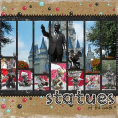 Disney statues scrapbook layout