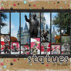 Disney statues scrapbook layout