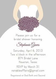 PRINTABLE Gray Silver and Eggplant Purple Plum Bridal Wedding Shower invitation - colors can be changed. $12.00, via Etsy.
