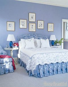 "A Sea-Inspired Guest Room This guest room designed by Paula Perlini reflects her belief that ""everybody loves blue and white."" Periwinkle walls are Benjamin Moore Riviera Azure. Featured in the July 2007 issue."