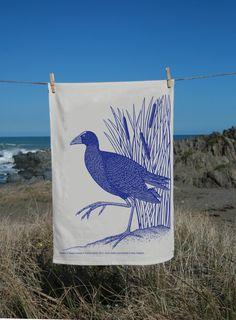 Pukeko Tea-towel by melinamartin on Etsy
