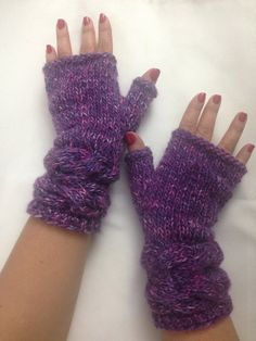 Cable Knit Pink Purple Fingerless Handmade Gloves Valentine's Day Gift  by QueensAccessories