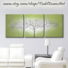 Olive Green, 48 Inches, Original 3 piece Set, Canvas Large Wall Art, Painting Trees, Triptych, Wall decor, art tree paintings, by ToddEvansArt, $90.00