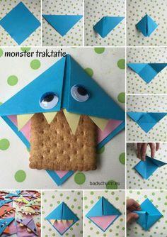 Monster traktatie, monsters trakteren, koekiemonster traktatie Diy For Kids, Cool Kids, Crafts For Kids, Origami, Diy And Crafts, Paper Crafts, Classroom Treats, Birthday Treats, School Parties