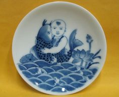 Very Beautiful Old China Blue White Porcelain Boy Fish Plate Kangxi Mark | eBay