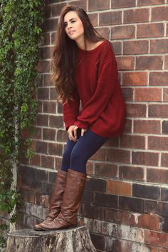 Cute fall outfits with burgundy sweater fashion. . . click on pic to see more