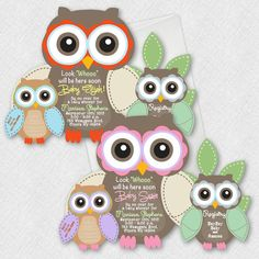 Owl Baby Shower Invitation, Owls Baby Shower Invitations, Unique, Baby Boy, Baby…