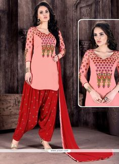 Pink And Red Cotton   Patiala Suit Model: YOS9091