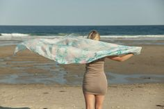 Light Blue and pink silk scarf / teal green and by CeliaEtcetera