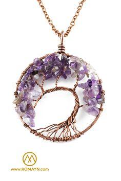 Améthyste Naturelle Labradorite Lapis Lazuli Gems Chip Perles Arbre de Vie Pendentif