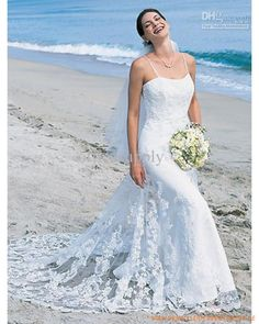 Wholesale Wedding Dresses - Buy Strapless Mermaid Lace Beach Wedding Dresses with Straps, $112.34 | DHgate