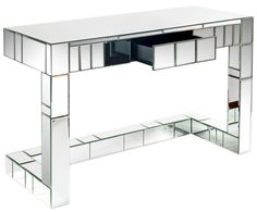 Bruelle Mirrored Desk With 1 Drawer on Chairish.com