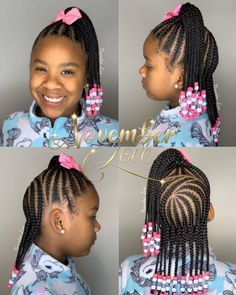 Little Girl Braid Styles, Kid Braid Styles, Little Girl Braids, Black Girl Braids, Braids For Black Hair, Hair Styles, Kids Braids With Beads, Braids For Kids, Girls Braids