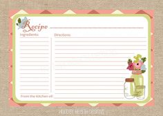 Recipe Card Printable