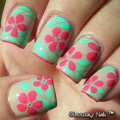 Pink green and tan nail art with flowers leaves and glitter