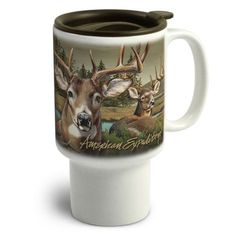 Wildlife Collage Series Stoneware Travel Mugs combine the convenience of our popular Stoneware Coffee Mug with the added function of a travel mug. The 16 oz. mug fits into almost any vehicles cup holder.