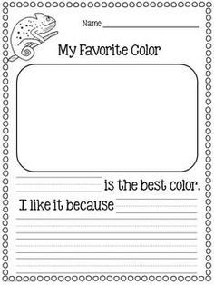 OPINION WRITING FOR KINDERGARTEN (COMMON CORE) With this opinion writing lesson, students will enjoy writing about the color they like best and reasons why. Color vocabulary cards and a fun brainstorming activity are included. 1st Grade Writing, Work On Writing, Opinion Writing, Persuasive Writing, Writing Workshop, Teaching Writing, Creative Writing, Writing Rubrics, Paragraph Writing