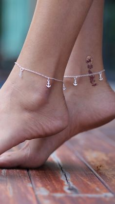 Sterling silver anklet Anchor charm silver by OneYellowButterflyy